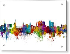 Acrylic Print featuring the digital art Fayetteville Arkansas Skyline by Michael Tompsett