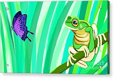 Frog And Butterfly Acrylic Print