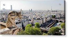 Gargoyle Guarding The Notre Dame Basilica In Paris Acrylic Print by Pierre Leclerc Photography