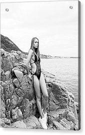 Girl In Black Swimsuit Acrylic Print