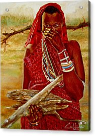 Girl With Sticks Acrylic Print by G Cuffia