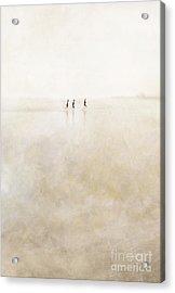 3 Girls Running Acrylic Print by Paul Grand