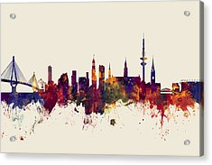 Hamburg Germany Skyline Acrylic Print by Michael Tompsett