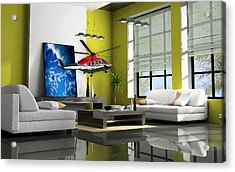 Helicopter Art Acrylic Print by Marvin Blaine