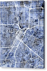 Houston Texas City Street Map Acrylic Print by Michael Tompsett