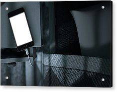 Illuminated Cellphone Next To Bed Acrylic Print by Allan Swart