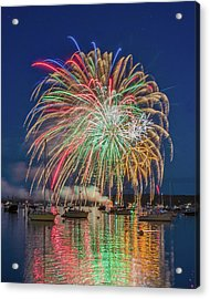 Independence Day Fireworks In Boothbay Harbor Acrylic Print