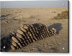 Inert Artillery Shells Are Stacked Acrylic Print by Terry Moore