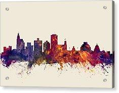 Jackson Mississippi Skyline Acrylic Print by Michael Tompsett