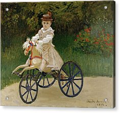 Jean Monet On His Hobby Horse Acrylic Print by Claude Monet