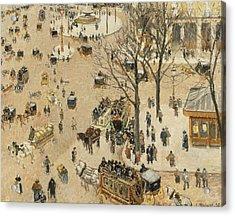 La Place Due Theatre Francais  Acrylic Print by Camille Pissarro
