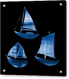 3 Little Blue Sailing Boats Acrylic Print