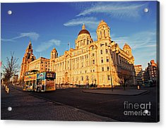 Liverpool Uk, 5th January 2017. Liverpool Sightseeing Bus In Front Of The Liver Buildings. Liverpool Uk Acrylic Print by Ken Biggs