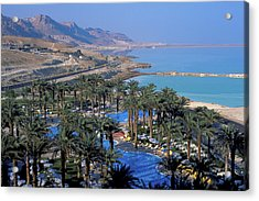 Luxury Resort On The Dead Sea Acrylic Print by Carl Purcell