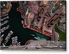 Majestic Colorful Dubai Marina Skyline During Night. Dubai Marina, United Arab Emirates. Acrylic Print
