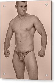 Male Muscle Acrylic Print by Jake Hartz