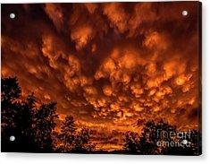 Mammatus Clouds At Sunset Acrylic Print by Thomas R Fletcher