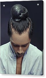 Man With Bun Hairstyle Acrylic Print