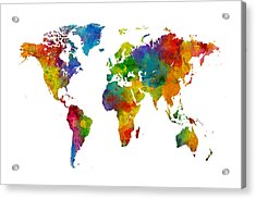 Map Of The World Map Watercolor Acrylic Print by Michael Tompsett