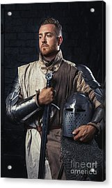 Medieval Knight In Armour Acrylic Print by Amanda Elwell