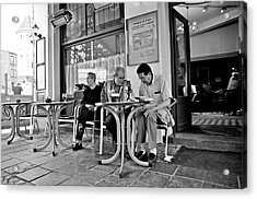 3 Men Brussels 2009 Acrylic Print by Mark Chevalier
