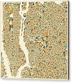 New York Map Acrylic Print by Jazzberry Blue
