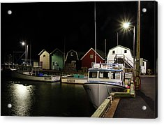 Acrylic Print featuring the photograph Nighttime On The Wharf. by Rob Huntley