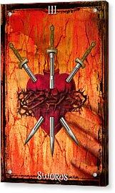 3 Of Swords Acrylic Print by Tammy Wetzel