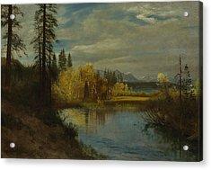 Outlet At Lake Tahoe Acrylic Print by Albert Bierstadt