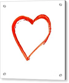 Acrylic Print featuring the drawing Painted Heart - Symbol Of Love by Michal Boubin