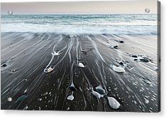 Acrylic Print featuring the photograph Pebbles In The Beach And Flowing Sea Water by Michalakis Ppalis