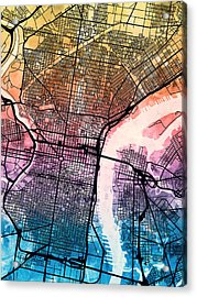 Philadelphia Pennsylvania Street Map Acrylic Print by Michael Tompsett