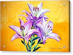3 Pink Lilies Acrylic Print by Dennis Clark