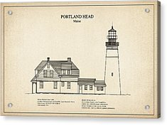 Portland Head Lighthouse - Maine - Blueprint Drawing Acrylic Print