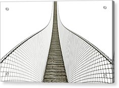 Rope Bridge On White Acrylic Print by Allan Swart