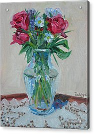 3 Roses Acrylic Print by Paul Walsh