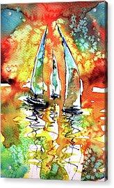 Sailboats Acrylic Print by Kovacs Anna Brigitta