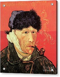 Self-portrait With Bandaged Ear And Pipe Acrylic Print by Vincent Van Gogh
