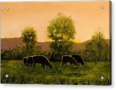 Acrylic Print featuring the painting Sheep In The Pasture by John Reynolds