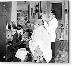 Silent Still: Barber Shop Acrylic Print by Granger
