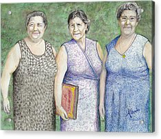 Acrylic Print featuring the drawing 3 Sisters by Albert Puskaric