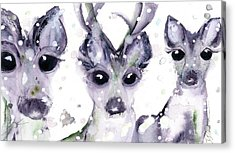 Acrylic Print featuring the painting 3 Snowy Deer by Dawn Derman