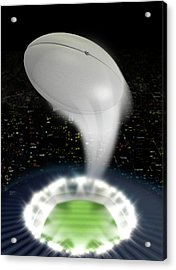 Stadium Night With Ball Swoosh Acrylic Print