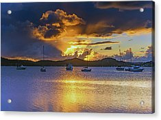 Sunrise Waterscape With Clouds And Boats Acrylic Print