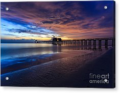 Acrylic Print featuring the photograph Sunset Naples Beach Florida by Hans- Juergen Leschmann