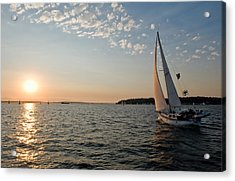 Sunset Sail Acrylic Print by Tom Dowd