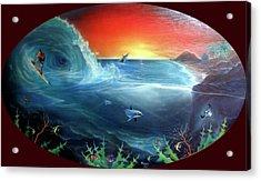 Sunset Surfer Acrylic Print by Sevan Thometz