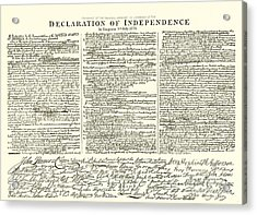 The Declaration Of Independence Acrylic Print by American School