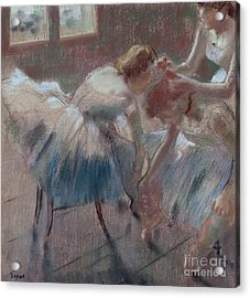Three Dancers Preparing For Class Acrylic Print by Edgar Degas