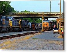 3 Train Meet In Monroe Acrylic Print by Joseph C Hinson Photography